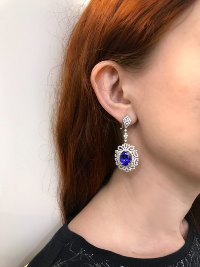 Blue Tanzanite Aa and Diamond Drop Chandelier In 18k Gold (20385) Earrings