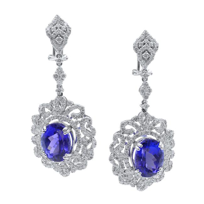 Item - Blue Tanzanite Aa and Diamond Drop Chandelier In 18k Gold Earrings