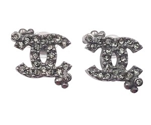 Chanel Chanel Gunmetal CC Dot Crystal Small Earrings