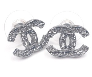 Chanel Chanel Gunmetal CC Plaid Cutout Piercing Earrings