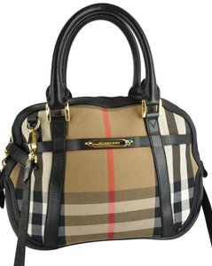 Burberry Check Bowling Satchel in Black