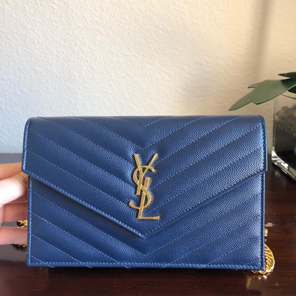 Body Wallet Envelope Bag Navy Saint Leather Laurent Monogram Chain Cross ZqRxZ8O4