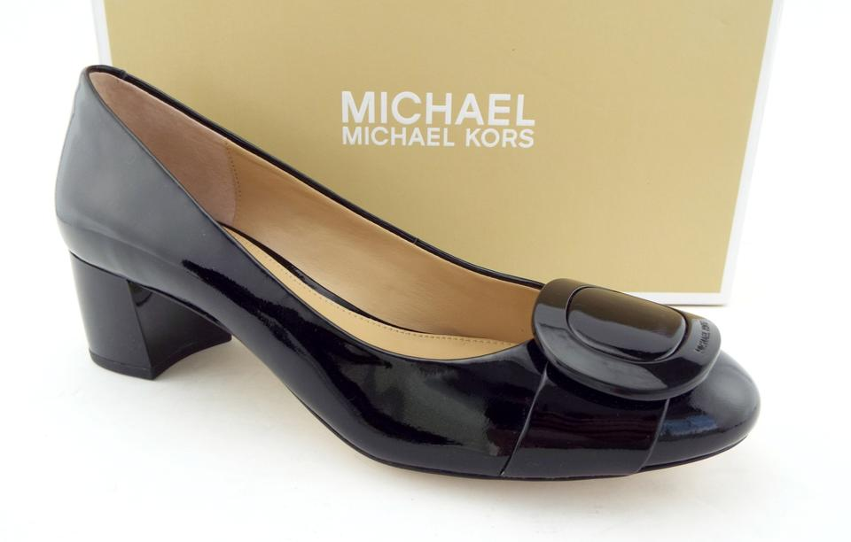 30fcb7f9617 MICHAEL Michael Kors Black Logo Buckle Block-heel Pumps Size US 7.5 Regular  (M
