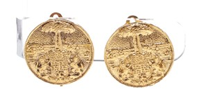 Chanel Chanel Gold Textured Medallion Clip On Disc Earrings