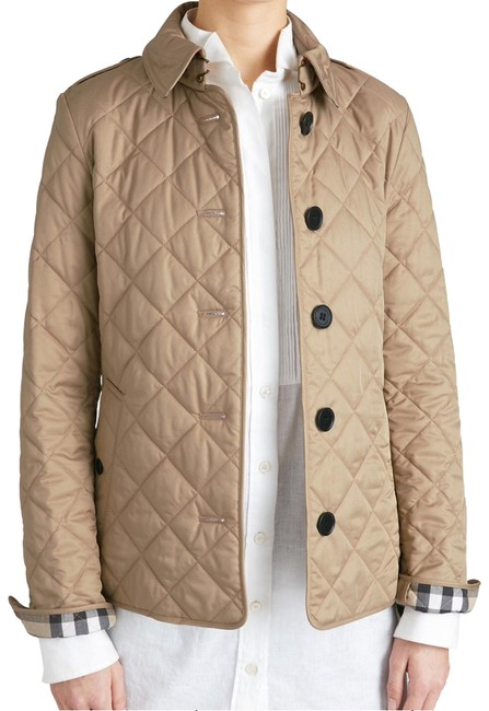 Item - Tan Frankby Quilted 'canvas' Color Check Lining Jacket Size 4 (S)
