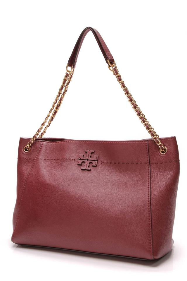 0a5a24cd8d38 Tory Burch Mcgraw Slouchy Imperial Garnet (Burgundy) Leather Tote ...