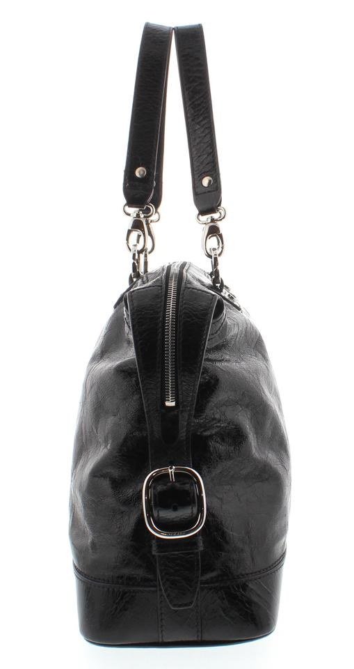 b4e8e82d17 Céline Distressed Handbag Black Patent Leather Shoulder Bag - Tradesy