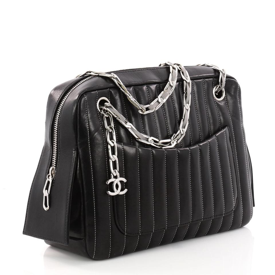 687f07bd1bb7 Chanel Mademoiselle Camera Vertical Quilted Lambskin Medium Black Leather  Shoulder Bag - Tradesy
