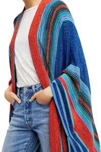 Free People Metallic Yarns Open Neckline Tie Closure Style Sleeves Glistens Cape