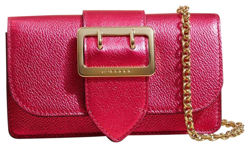 7a5a163f2bc8 Burberry Mini Phone Buckle Phone Purse Metallic Pink Leather Cross ...