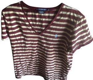 Ralph Lauren Sport Brand Biege Like New Cotton.. T Shirt Burgundy & Beige stripes