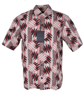 Prada Multicolor New Men's Ucs280 Camacia Popeline Wallpaper Dress Shirt
