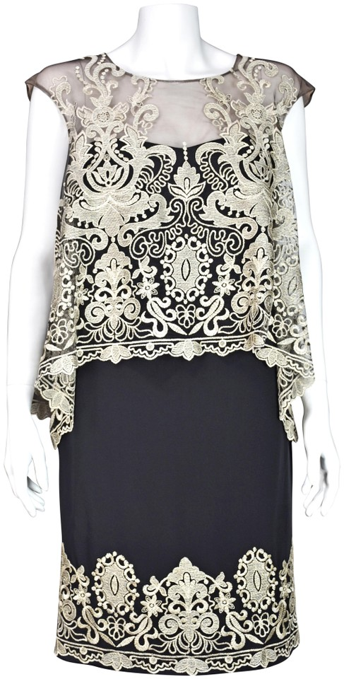 0ded22ed36c Marchesa Notte Black Silk & Gold Embroidered Short Cocktail Dress ...