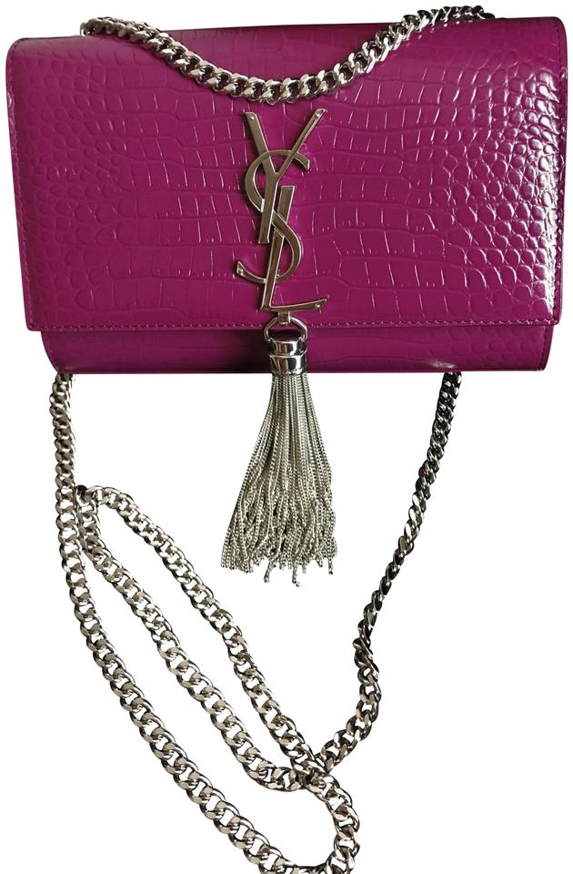 001c1463fe Saint Laurent Monogram Kate Tassel Chain Violet Croc Embossed ...
