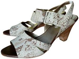 Circa Joan & David Tapered Heel Wood Heel Snakeskin Ankle Strap tan Sandals