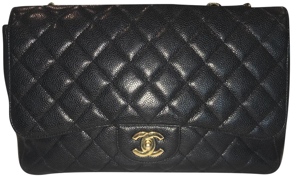 95b29db0b0bad2 Chanel Quilted Jumbo Woman Purse Great Conditio Black Caviar Leather ...