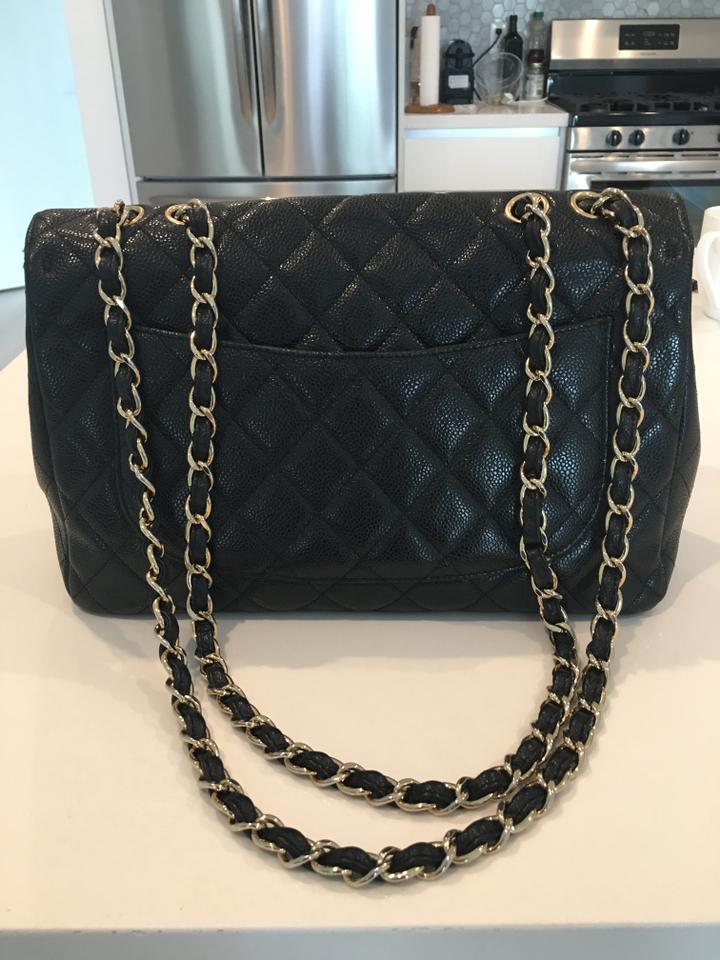 fe7d17c65182 Chanel Quilted Jumbo Woman Purse Great Conditio Black Caviar Leather  Shoulder Bag - Tradesy