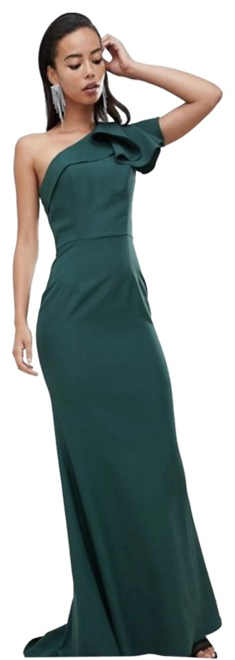 1a0465548947 Jarlo Green One Shoulder Evening Gown Long Formal Dress Size 6 (S ...