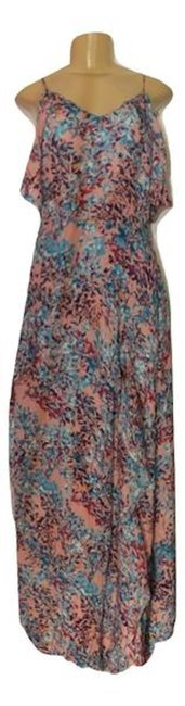 Item - Multicolor Light Pink Floral with Slit In The Front Long Casual Maxi Dress Size 4 (S)