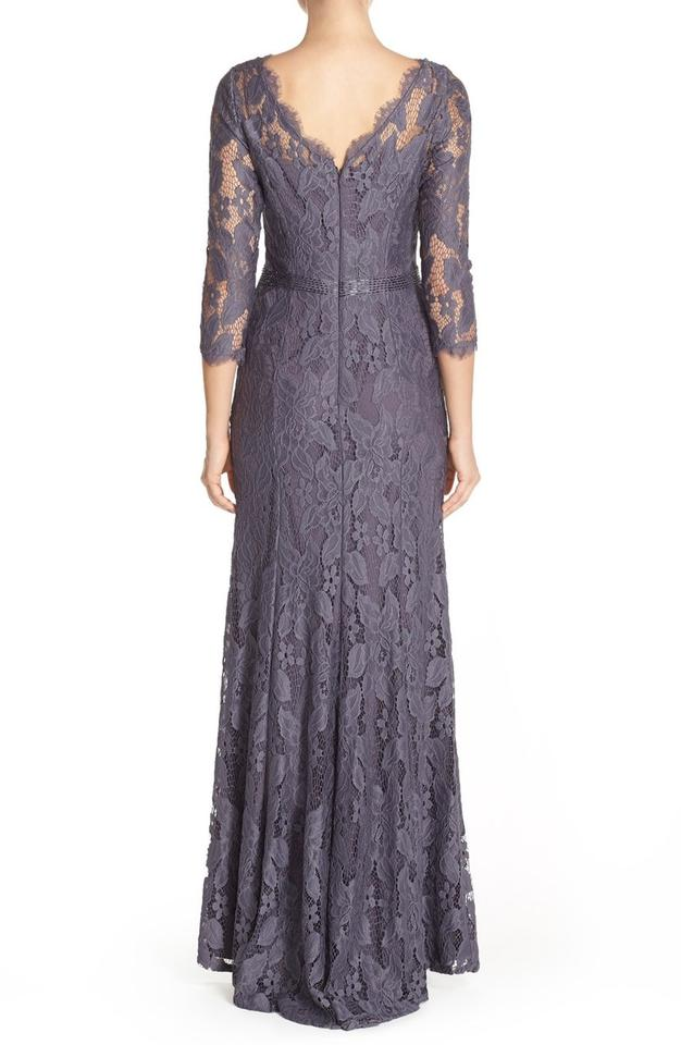 Adrianna Papell Gunmetal Grey Illusion Yoke Lace Gown Long Formal ...