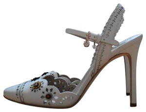 Tory Burch Marguerite Slingback Leather White Ivory Sandals