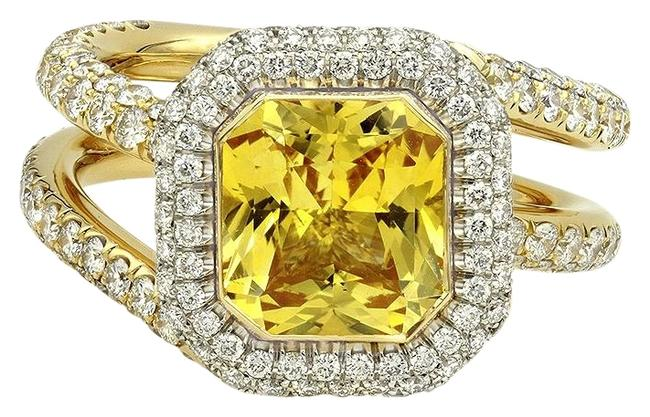 Item - Yellow Sapphire Rose Gold Pave Diamond Cushion Halo Ring