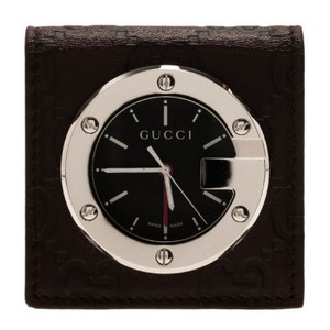 Gucci Gucci Black Stainless Steel Brow Leather Unisex Alarm Clock 40MM