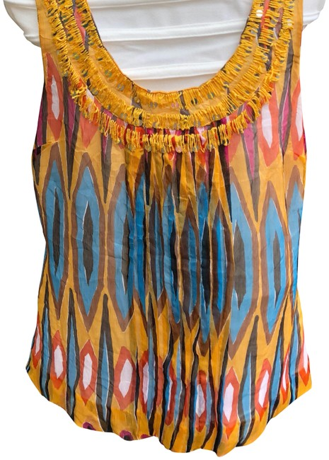 Item - Gold Abstract Silk Tank Top/Cami Size 6 (S)