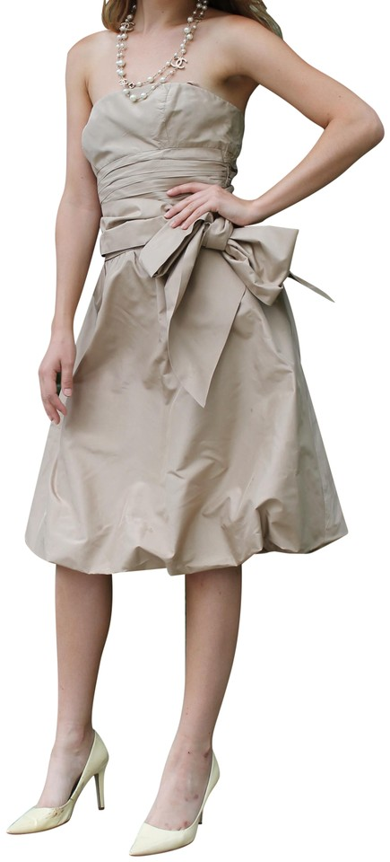 564198992 BCBGMAXAZRIA Beige Golden-beige Evening Bubble Short Formal Dress ...