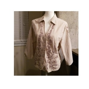 French Dressing Jeans Fdj 3d Embroidery Lightweight 3/4 Sleeve Casual Tan Jacket