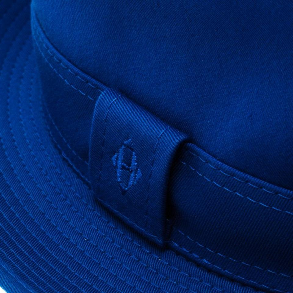64c826ff1 Hermès Blue Cotton H Embroidered Funky Fedora ( Size 58 ) Hat 41% off retail