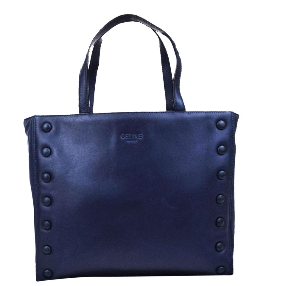 f5d6d7143c3 Céline Logos Hand Made In Italy Navy Blue Leather Tote - Tradesy