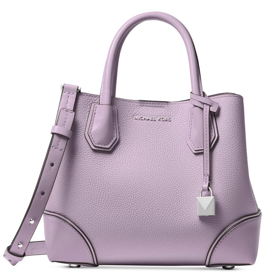 d87303ad7a7cf6 Michael Kors Studio Mercer Small Center-zip Light Quartz Purple/Silver  Leather Satchel