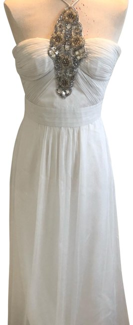 White Silver Aidan Beaded Halter Gown Long Formal Dress Size 2 (XS) White Silver Aidan Beaded Halter Gown Long Formal Dress Size 2 (XS) Image 1