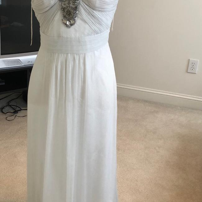 White Silver Aidan Beaded Halter Gown Long Formal Dress Size 2 (XS) White Silver Aidan Beaded Halter Gown Long Formal Dress Size 2 (XS) Image 10