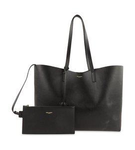 Saint Laurent Shopping East West Leather Tote in Black
