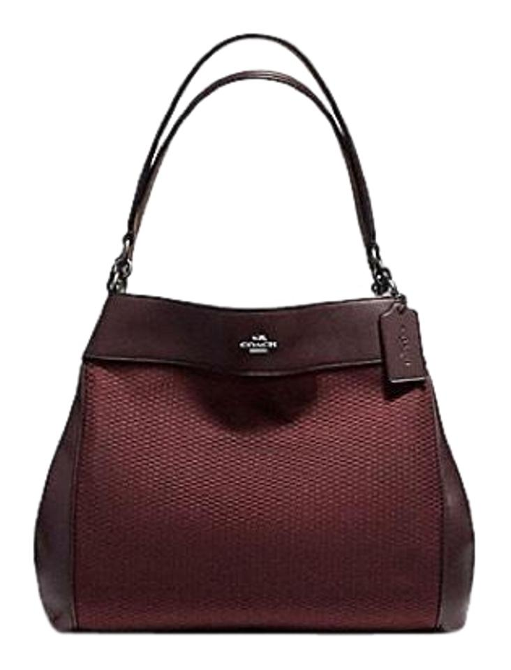 88b6df71a433 Coach Legacy Jacquard with Leather Trim Inside Zip Cell Phone and  Multifunction Pockets Center Zip Compartment Snap Closure 9 Oxblood Shoulder  Bag