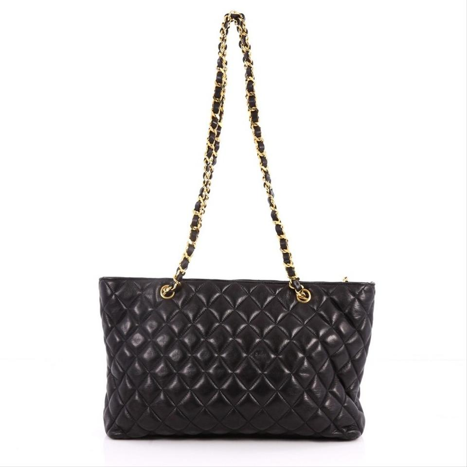 7580827cd6e4 Chanel Vintage Cc Charm Quilted Large Black Lambskin Leather Tote ...
