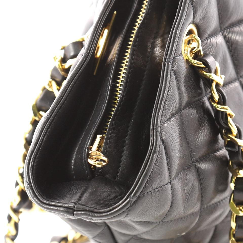 d8471190a26b Chanel Vintage Cc Charm Quilted Large Black Lambskin Leather Tote - Tradesy