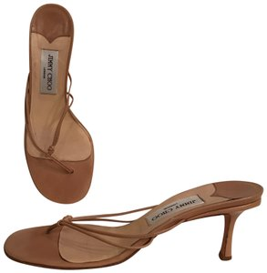 Jimmy Choo Leather Thongs Strappy Formal Kitten Beige Sandals