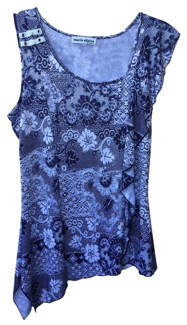 Marie Claire Boutiques Top Navy and White