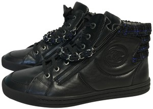 Chanel High Top Sneakers Trainers Cc Black and Navy Athletic