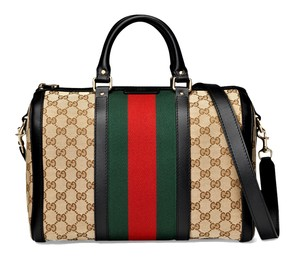 Gucci Satchel in Black Leather/White/Beige