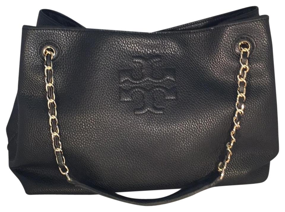 fc03f3e3c96 Tory Burch Thea Chain Slouchy Tote Black Leather Shoulder Bag - Tradesy