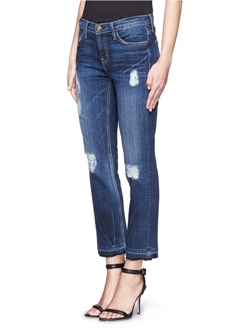 Item - Blue Distressed The Cropped Released Hem Straight Leg Jeans Size 27 (4, S)