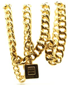 Chanel Rare CC perfume Multi wide chain gold long two way necklace belt