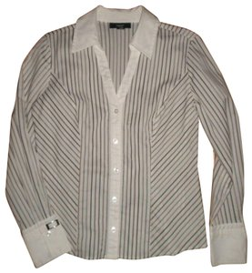 Alfani Striped Long Sleeve Button Front Blouse Career Button Down Shirt Multi-Color