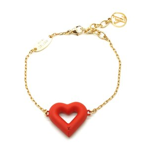 Louis Vuitton Ultra Rare LV logo Heart Valentines gold chain bracelet