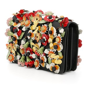 Prada Women's Leather Floral Cross Body Bag
