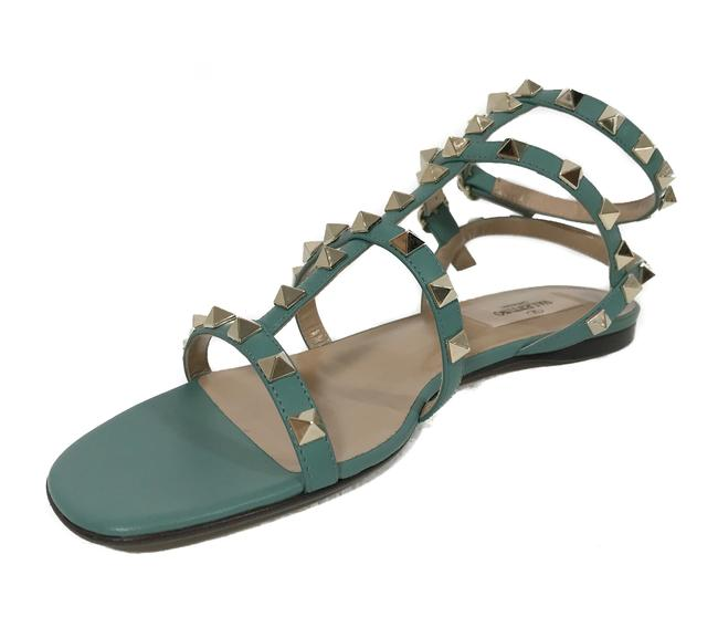 Valentino Green New Leather Rockstud Strappy Leather Sz. 38/8us Sandals Size US 8 Regular (M, B) Valentino Green New Leather Rockstud Strappy Leather Sz. 38/8us Sandals Size US 8 Regular (M, B) Image 1
